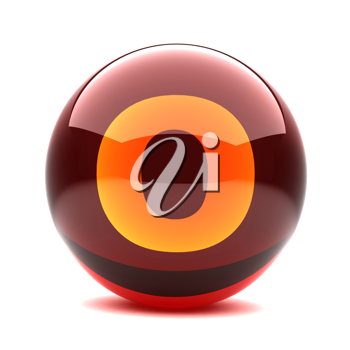 Royalty Free Clipart Image of a Sphere Letter 'O'