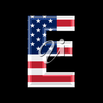 Royalty Free Clipart Image of an American Flag 'E'