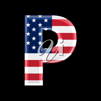 Royalty Free Clipart Image of an American Flag 'P'