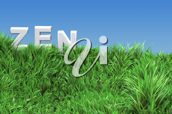 Royalty Free Clipart Image of Zen in a Meadow