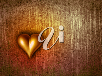 Royalty Free Clipart Image of a Heart on a Grungy Wall