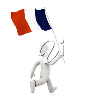 Royalty Free Clipart Image of a Man Running With Flag of France