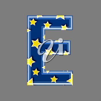 3d letter with star pattern - E