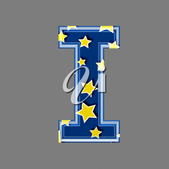 3d letter with star pattern - I