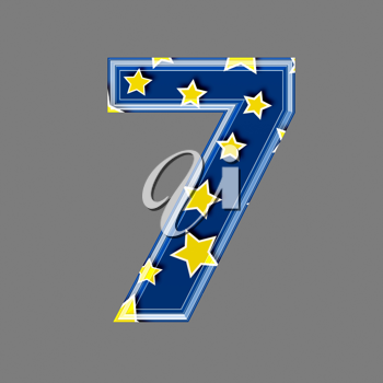 3d digit with star pattern - 7