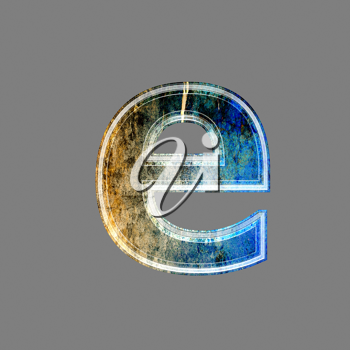 grunge 3d  letter isolated on grey background - e