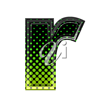 Halftone 3d lower-case letter r