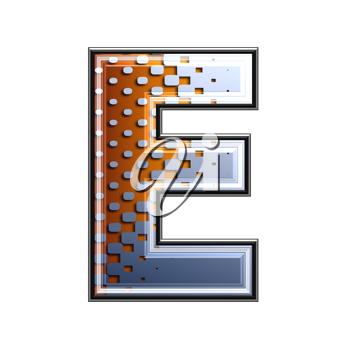 3d letter with abstract texture - e