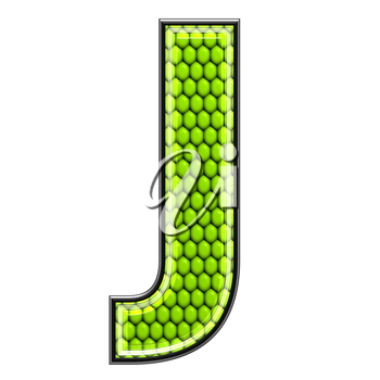 Abstract 3d letter with reptile skin texture - J