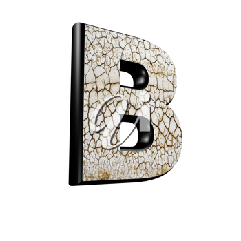 abstract 3d letter with dry ground texture - B
