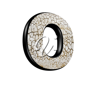 abstract 3d letter with dry ground texture - O