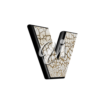 abstract 3d letter with dry ground texture - V