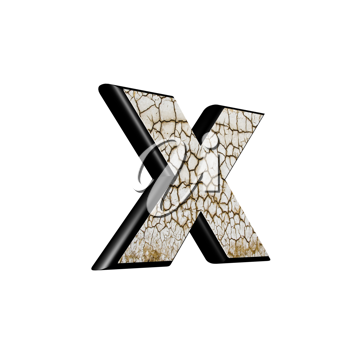 abstract 3d letter with dry ground texture - X
