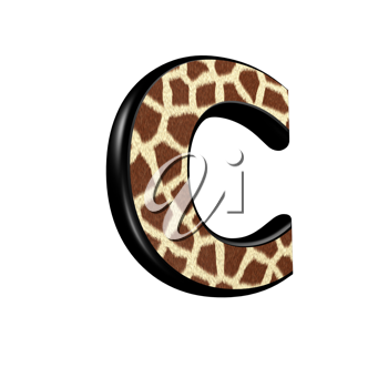 3d letter with giraffe fur texture - C
