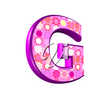 3d pink letter isolated on a white background - g