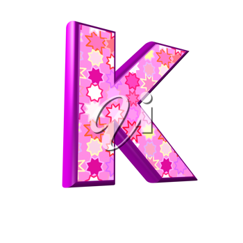 3d pink letter isolated on a white background - k