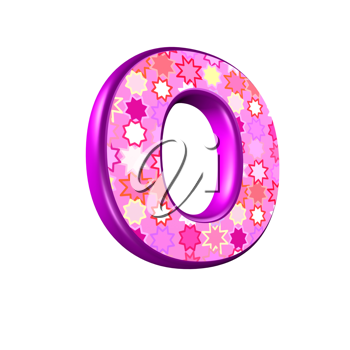 3d pink letter isolated on a white background - o