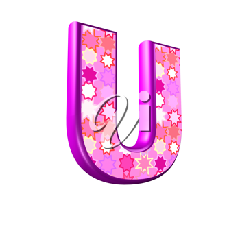 3d pink letter isolated on a white background - u