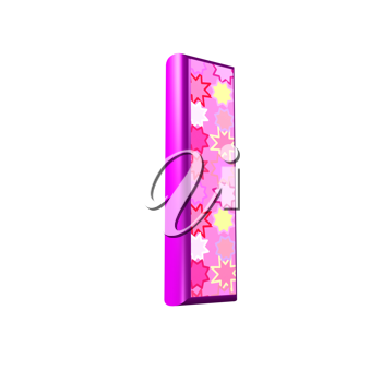 3d pink letter isolated on a white background - l