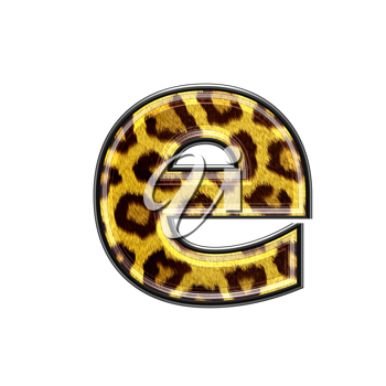 3d letter with panther skin texture - E