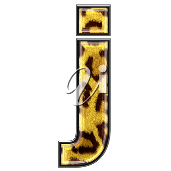 3d letter with panther skin texture - J