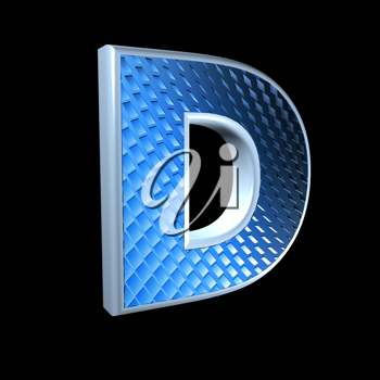 abstract 3d letter with blue pattern texture - D