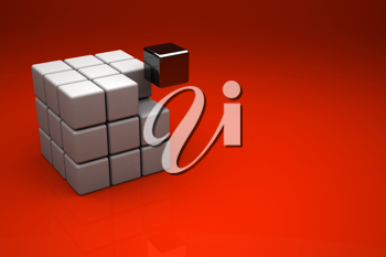 Abstract 3d background - Cube on red background