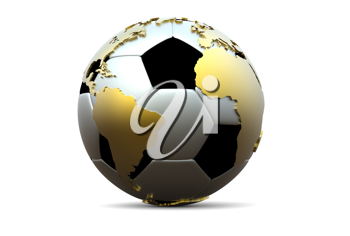 3d soccer ball with golden extruded continents