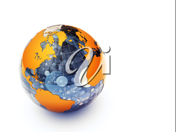 3d glossy earth on white background