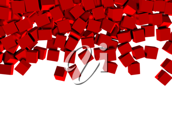 3d red cubes isolated on white background