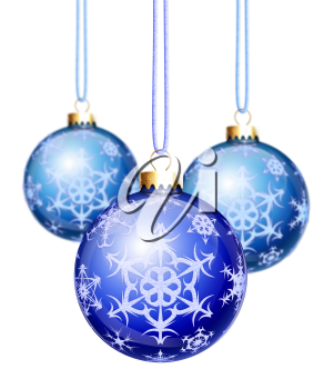 Royalty Free Clipart Image of Three Balloon Ornaments