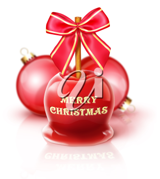 Royalty Free Clipart Image of a Candied Apple and Christmas Ornaments