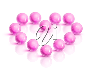 Royalty Free Clipart Image of Pink Balls in a Heart