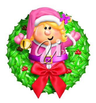 Royalty Free Clipart Image of an Elf on a Wreath