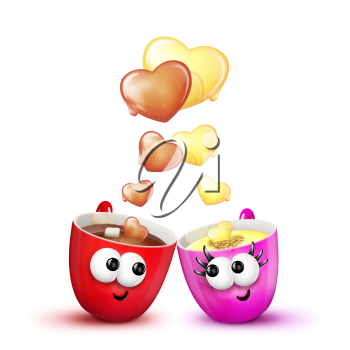 Royalty Free Clipart Image of Two Cups in Love