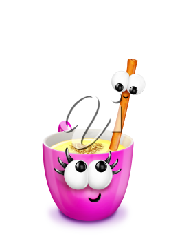 Royalty Free Clipart Image of Eggnog With a Cinnamon Stick