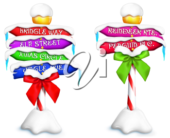 Royalty Free Clipart Image of Christmas Signs