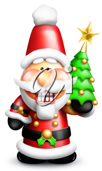 Royalty Free Clipart Image of Santa With a Christmas Tree
