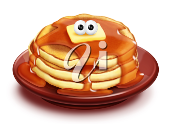 Royalty Free Clipart Image of a Stack of Pancakes