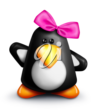 Royalty Free Clipart Image of a Penguin With a Pink Bow