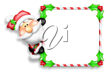 Royalty Free Clipart Image of Santa and a Frame