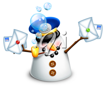 Royalty Free Clipart Image of a Snowman With Mail