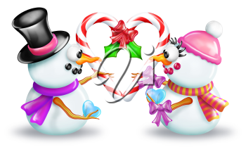 Royalty Free Clipart Image of a Snow Couple Holding Candy Canes in a Heart Shape