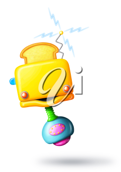 Royalty Free Clipart Image of a Toaster Robot