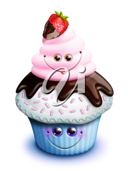 Royalty Free Clipart Image of a Cupcake With a Strawberry on Top