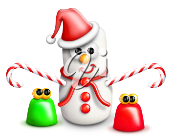 Royalty Free Clipart Image of a Marshmallow Snowman