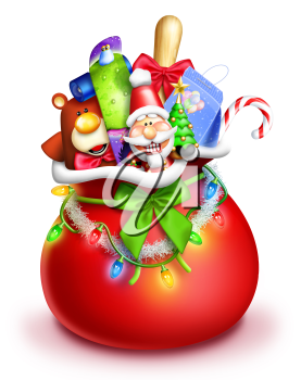 Royalty Free Clipart Image of Santa's Bag Full of Toys
