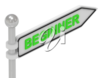 Royalty Free Clipart Image of the Word Beginner on a Sign