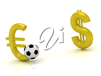 Royalty Free Clipart Image of a Euro and Dollar Symbol With a Soccer Ball Between