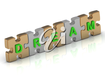 Royalty Free Clipart Image of a Jigsaw Puzzle With the Word Dream